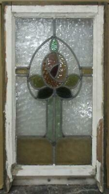 "EDWARDIAN ENGLISH LEADED STAIN GLASS SASH WINDOW Mackintosh Rose 14.25"" x 23.5"""