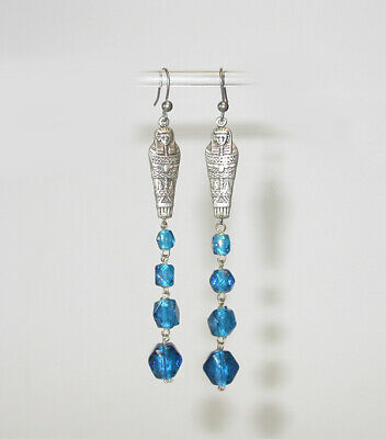 ANTIQUE 1920's ART DECO style EGYPTIAN MUMMY &  Peacock Blue Glass EARRINGS!