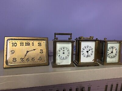 Set Of 4 Brass Miniature Carriage Clocks