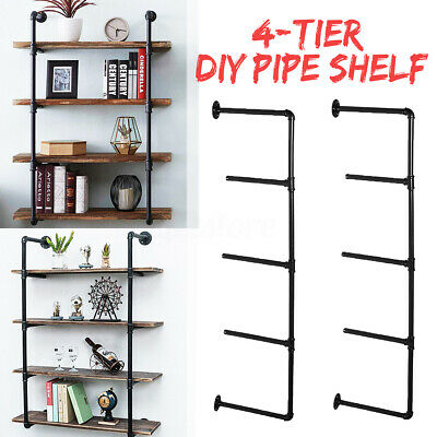 4-Tier Industrial Iron Pipe Shelf Wall Mounted Hanging Storage Shelves Bracket