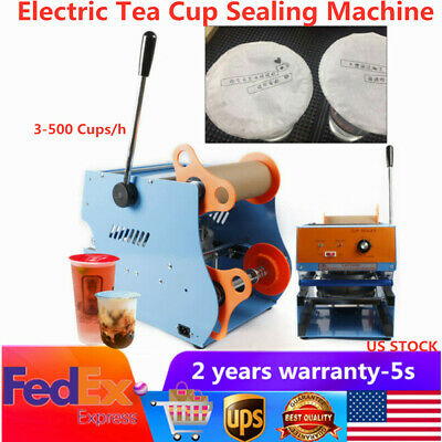 350W Electric Plastic Tea Cup Sealer Sealing Machine 300-500Cups/h Free Shipping
