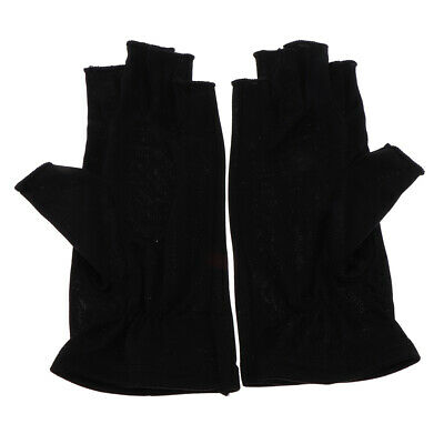 Mulberry Silk Thin Glove Half Gloves for Ski Motorcycle UV Sun Protection Black