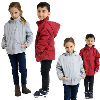 Kids Boys Girls Waterproof Fleece Lined School Jacket Hooded Mac Kagool Coat New