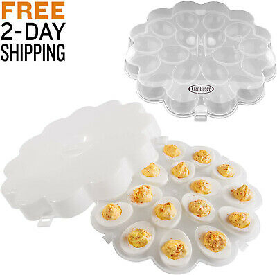 New Deviled Egg Trays SET OF 2 Carrier Platters with Lids Travel Containers