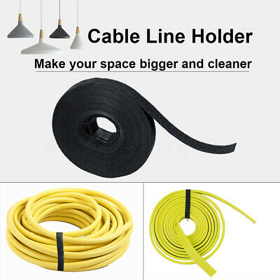 10M Black Nylon Cable Manager Organizer Winder Cable Clip Tidy Belting Strap Tie