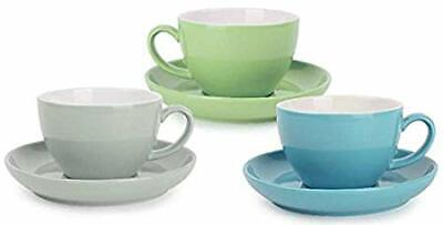 12PC Ceramic Expresso Coffee Cups with Saucers EASY WASH Green Blue Grey 240ml