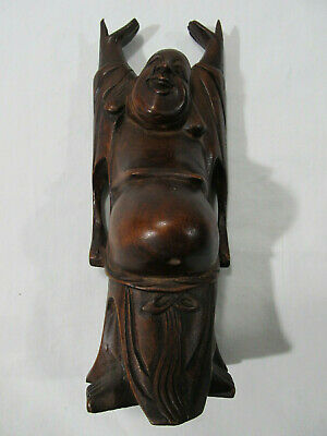 Vintage Chinese Carved Hardwood Wood Happy Buddha Statue Carving ~ Free Ship USA