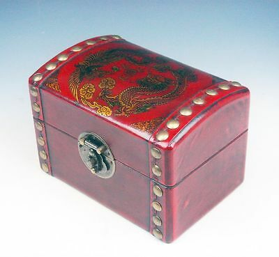 Red Finished Leather Dragon Phoenix Hand Painted Wooden Jewelry Box
