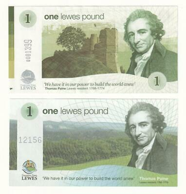 Pair of One Pound LEWES Local currency notes (2008 - 2014) UNC.