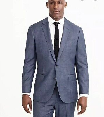 New J Crew Crosby Suit Jacket Double Vent Worsted Wool 46R Harbor Blue C3270