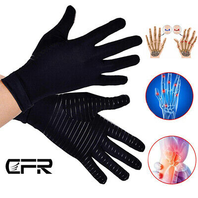 Copper Compression Arthritis Gloves Fit Carpal Tunnel Hands Wrists Brace Support