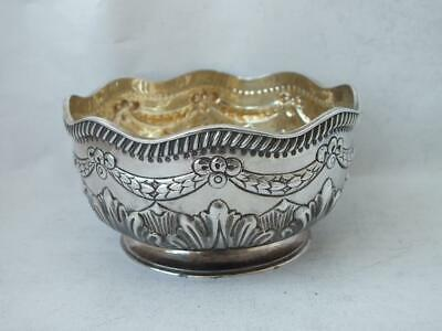 """Pretty """"Swags"""" Victorian Solid Sterling Silver Bowl 1883/ Dia 9 cm/ 97 g"""