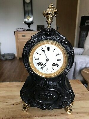 stunning Black Ebonised French Boulle Clock Stamped Marti With Camerer Kuss