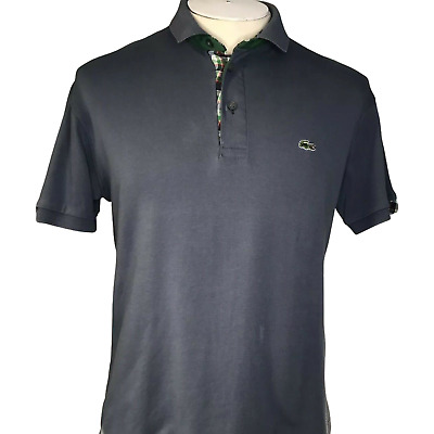 Mens Lacoste Blue Short Sleeved 100% Soft Cotton Polo Shirt VGC Size XL