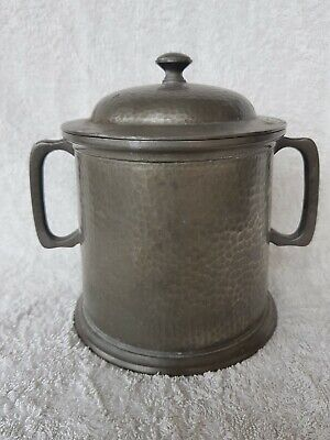 Antique arts and crafts hand made 'Roundhead' English Pewter tea caddy / Jar
