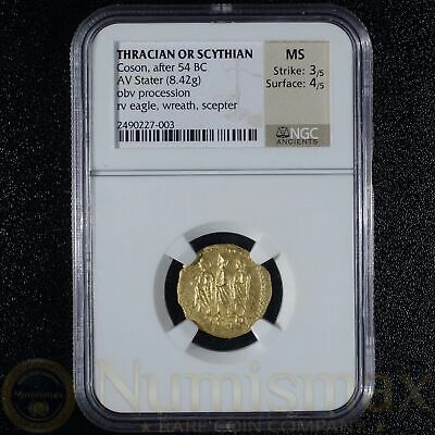 After 54 BC Thracian or Scythian Gold Coson AV Stater (8.42g)   NGC MS 3/5, 4/5