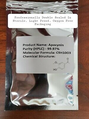 APOCYNIN - 50 Grams - 99.97% Pure By HPLC  Anti-Inflammatory - Anti-Aging - cGMP