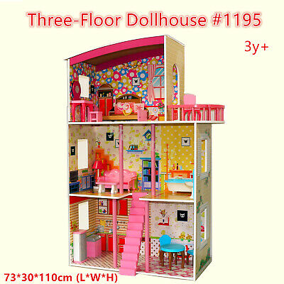 Kid Deluxe Pretend Toy Large Wooden 3-Level Doll House Furniture Appliance #1195