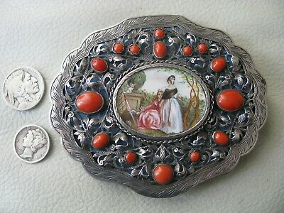 Antique 800 STERLING SILVER Red Coral Stone Compact Hand Painted Portrait ITALY