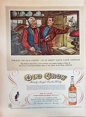 Lot 3 Vintage Old Crow Bourbon Print Ads Skaal To Old Crow Says Jack London