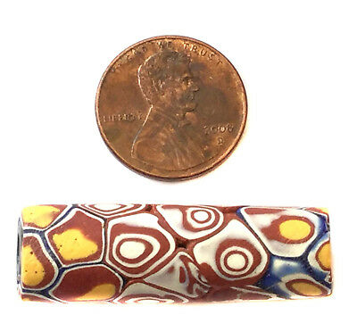 1 PC Fine old Venetian Antique Rusty multi Millefiori banded African Trade beads