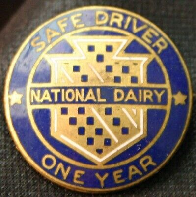 Vintage NATIONAL DAIRY Safe Driver One Year Award Pin