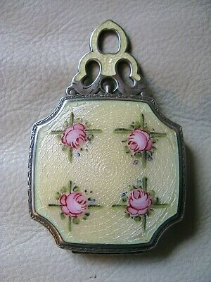 Antique Art Deco STERLING SILVER Yellow Guilloche Pink Floral Compact R&G Co