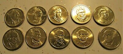 "2008-P+D EIGHT UNCIRCULATED PRESIDENT GOLDEN ONE-DOLLAR COINS /""SATAN FINISH/"""