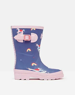 Joules 209693 Printed Wellie Boots - BLUE UNICORN CLOUDS
