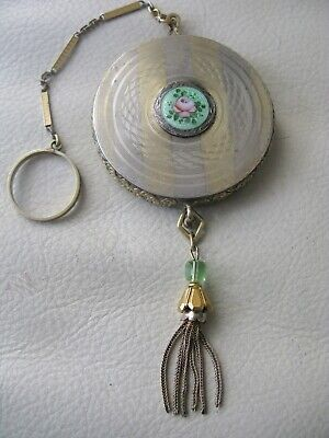 Antique Silver & Gold Green Guilloche Pink Floral Bar Chain Finger Ring Compact