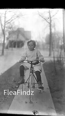 Cool 19th Century Boy on Bicycle Vintage Antique Photo Glass Plate Negative