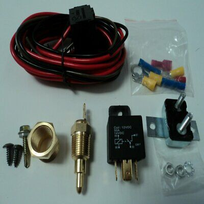 Electric Fan Wiring Install Kit Complete Thermostat 50 Amp Relay 185° SBC BBCN