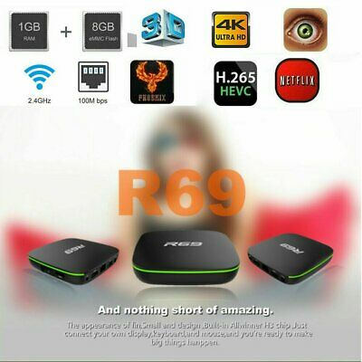 R69 Android 7.1 Smart TV Box 1+8G Quad Core HD 2.4GHz WiFi 4K Media PlayerN
