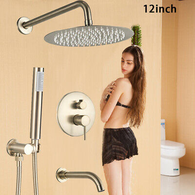 Brushed Gold Shower Faucet Set Round Rain Head Hand Sprayer Tub Spout Wall Mount
