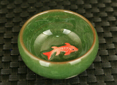 rare old chinese jingdezhen porcelain fish statue tea cup bowl collectible gift