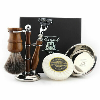 Men Classic Wooden Shaving Kit Synthetic Brush, Triple Edge Razor Christmas Gift