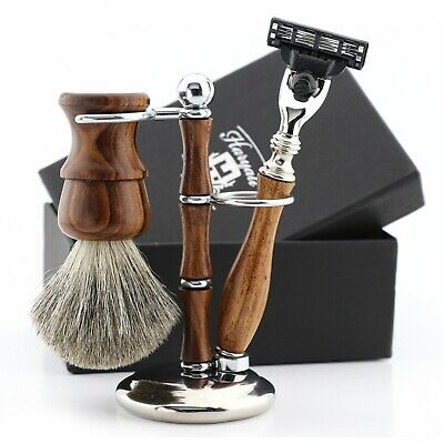 Men's Travel Starter Kit, Shaving Brush, Cartridge Razor, Stand Wooden 3Pc Set