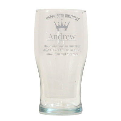 Engraved Tulip Pint Glass 1Pt Personalised Gift Present IM1