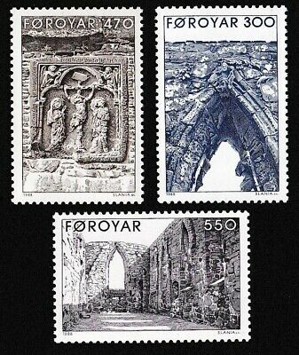 Faroe Is. Kirkjubour Cathedral Ruins 3v MNH SG#171-173 SC#183-185