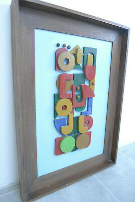 Vintage retro abstract wooden picture. Mid century art. Framed wall hanging