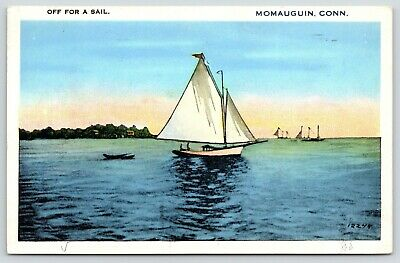 East Haven~Momauguin Connecticut~Long Island Sound~Sail Boat~1939 Postcard