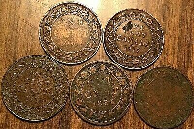 5 Canada Large Cents 1 Cent Penny Lot Of 5 Coins