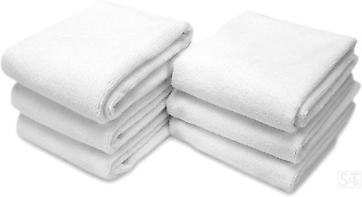 STS Microfiber Fitness Exercise Towels, 6 Pack, 16-Inch x 27-Inch, White