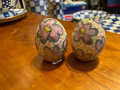 NEW Mackenzie Childs Taylor MYRTLE Salt and Pepper Set Egg Shape