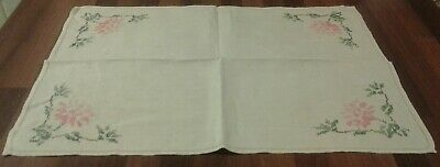 Vintage Cream Linen & Hand Embroidered Floral Tray Cloth / Small Tablecloth/Rose