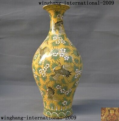 China yellow glaze WuCai porcelain Crane bird flower Zun Cup Bottle Pot Vase Jar