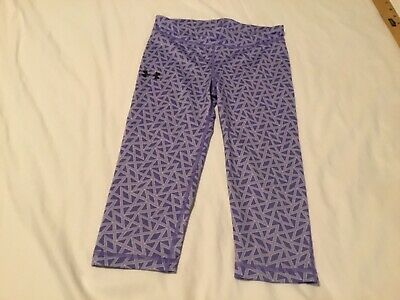 Girls Under Armour YS Youth Small purple geometric print capri leggings