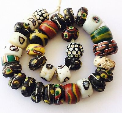 32 variety disk wound Venetian Antique glass African Trade beads
