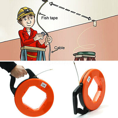 UK 98FT Fish Tape Electricians Cable Pulling Electrical Wire Access Puller 4mm