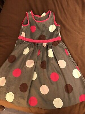 Beautiful Mini Boden Girls Grey Spotted Dress Age 5-6 Excellent Condition
